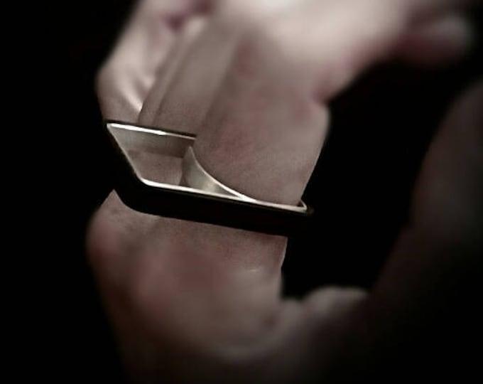 square minimalist ring.urban silver and black.ring.modern geometric ring.urban ring.contemporary square ring.architectural ring.black ring.