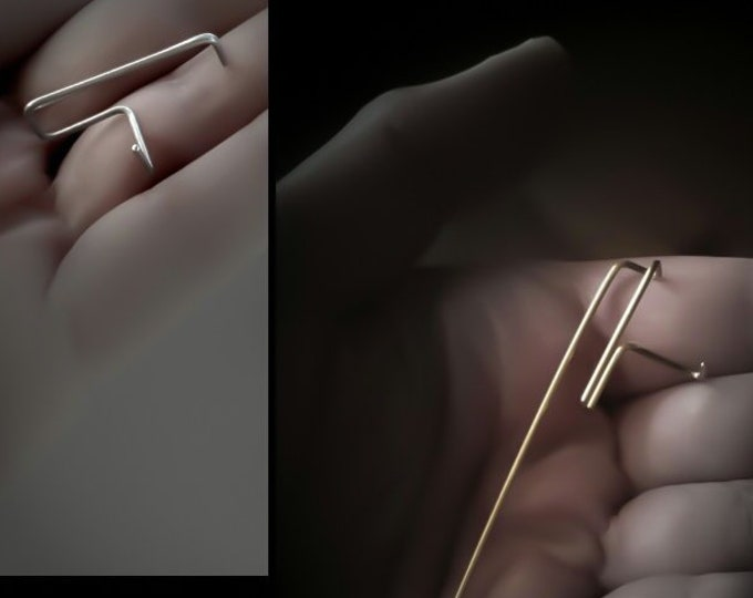 Minimal Bar Threaders ~ Staple Earrings , Minimalist Line ~ Geometric Threaders - Line Posts