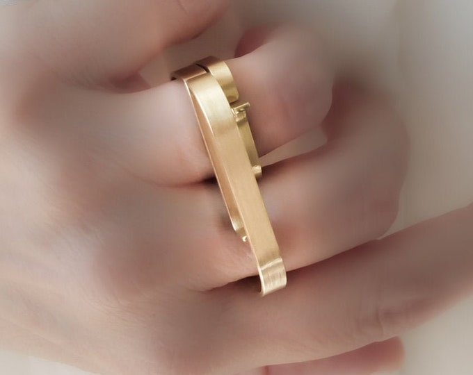 Solid 14k Gold Double finger ring Set , Unique Modern Geometric - Alternative jewelry , Large Minimalist Statement jewelry
