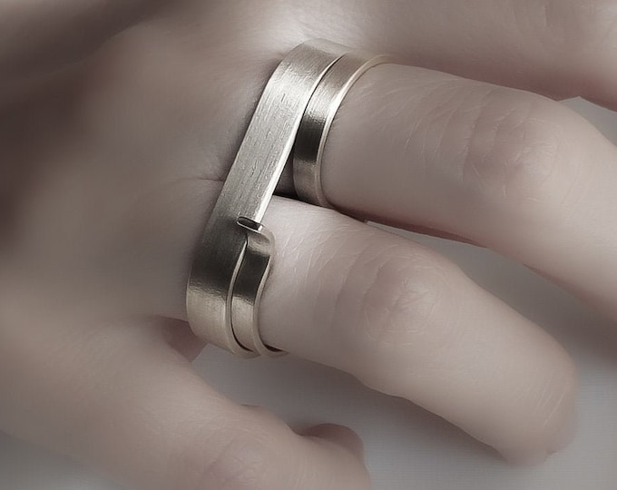 Solid 14k White Gold Double finger ring Set , Unique Modern Geometric - Alternative jewelry , Large Minimalist Statement jewelry