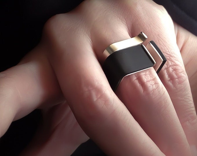 Black Silver Modern ring ~ Statement Geometric ring - Original Geometric jewelry - Unique Contemporary rings
