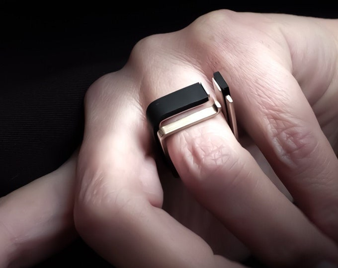 Modern Stacking rings - Architectural Stacking rings - Flat Black ring - Band Silver rings - Thin Black ring - Modern Silver ring Set
