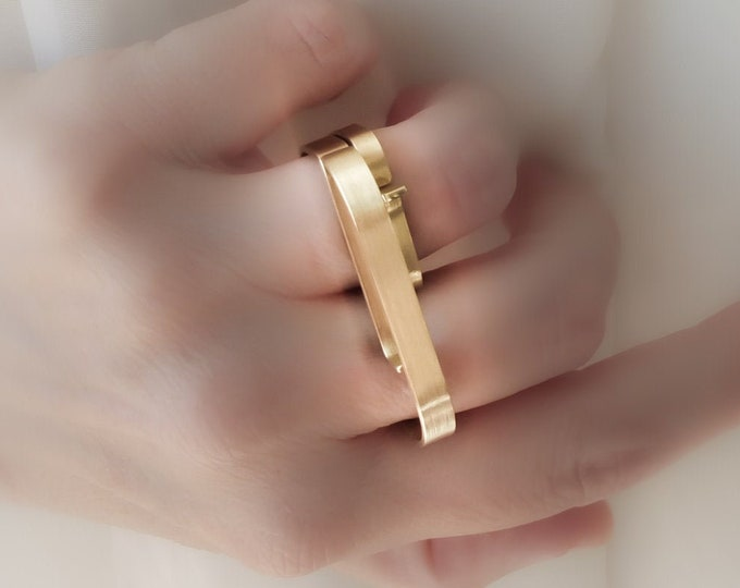 Gold Knuckle Duster ring , Signet Gold Bar ring - Double Finger , Geometric Gold jewelry - Large Minimalist , Solid Gold Double ring