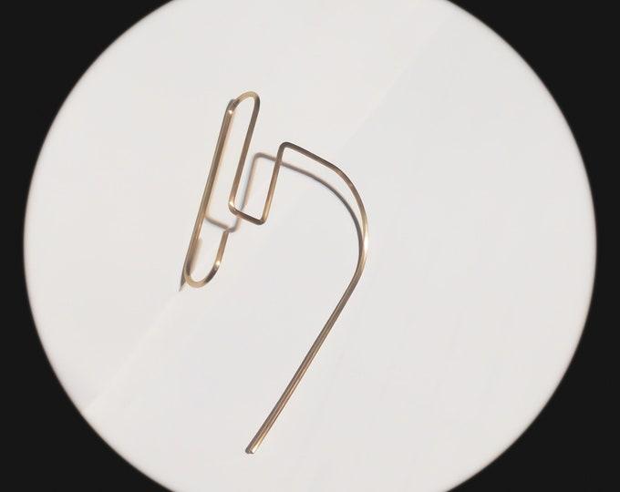 Minimalist Hoop earrings - Architectural earrings -  Geometric threaders -  Minimal Drop earrings - Bar earrings