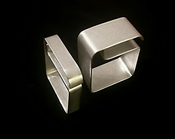 Sterling Architectural Minimalistic Square ring ~ Artisan Geometric Contemporary jewelry - Modernist Rectangular Design