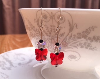 Light red Swarovski double Butterfly drop earrings, black, 925 Sterling silver earhooks, handmade, birthday, gift boxed, gift for her