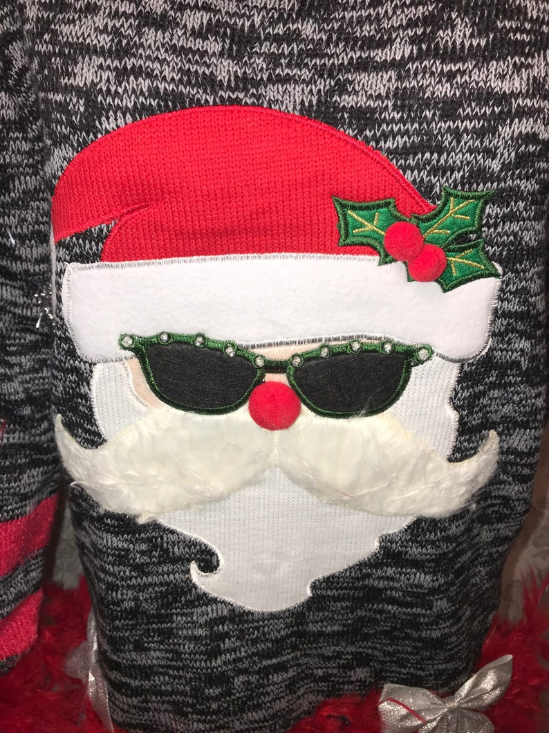 Brand New Sweater Santa Ugly Christmas Sweater with lights and Boas Junior L,XL