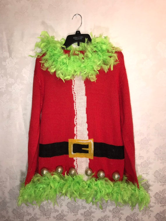 Ugly Christmas Sweater Grinch With Lights Grinch In Etsy