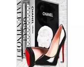 Fashion Books and Heels Print Chanel Louboutin Gucci Valentino Louis Vuitton