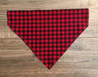 Black / Red Plaid Dog Bandana