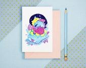 Exhausted - Cute Monster, Kawaii Art, Pastel Postcard, Kawaii Greeting Card, Inktober Art, Mini Art Print, A6 Print