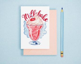 Milkshake Illustration - Food Illustration, Kitchen Decor, Foodie Postcard, Dessert Art Print, Food Lover GIft, Kitchen Wall Art