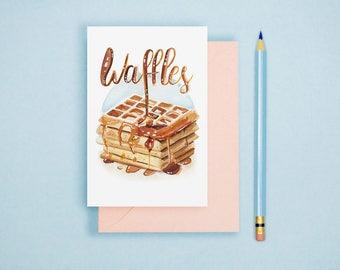 Watercolor Waffles Illustration - Food Illustration, Kitchen Decor, Foodie Postcard, Watercolor Art Print, Food Lover GIft, Kitchen Wall Art