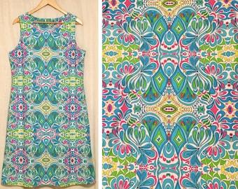 Mod Mosaic Pattern Shift Dress // 90's Does 60's // plus size 14, extra large
