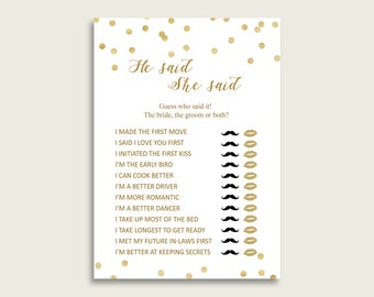 Gold Confetti Bridal Shower He Said She Said Game, Gold White Gues Who Said It Printable, Bride Or Groom, Instant Download, CZXE5