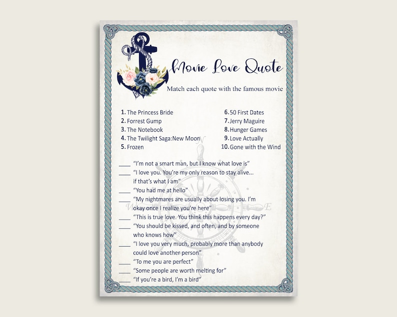 Nautical Anchor Romantic Movie Love Quotes Match Game, Blue Beige Bridal  Shower Game Printable, Bachelorette Party, Instant Download, 87BSZ