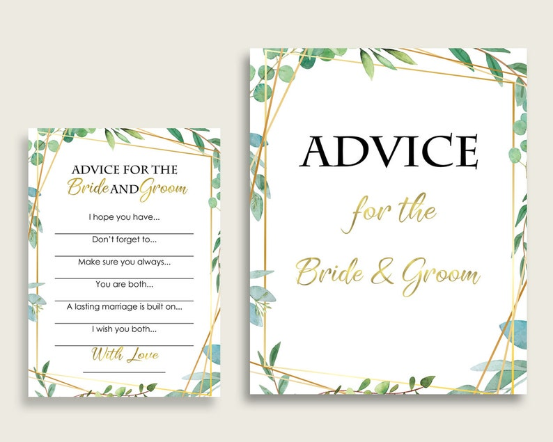 Greenery Bridal Shower Advice For The Bride And Groom Cards & Sign, Green  Gold Words Of Advice Printable, Instant Download, Geometric 9GOY4