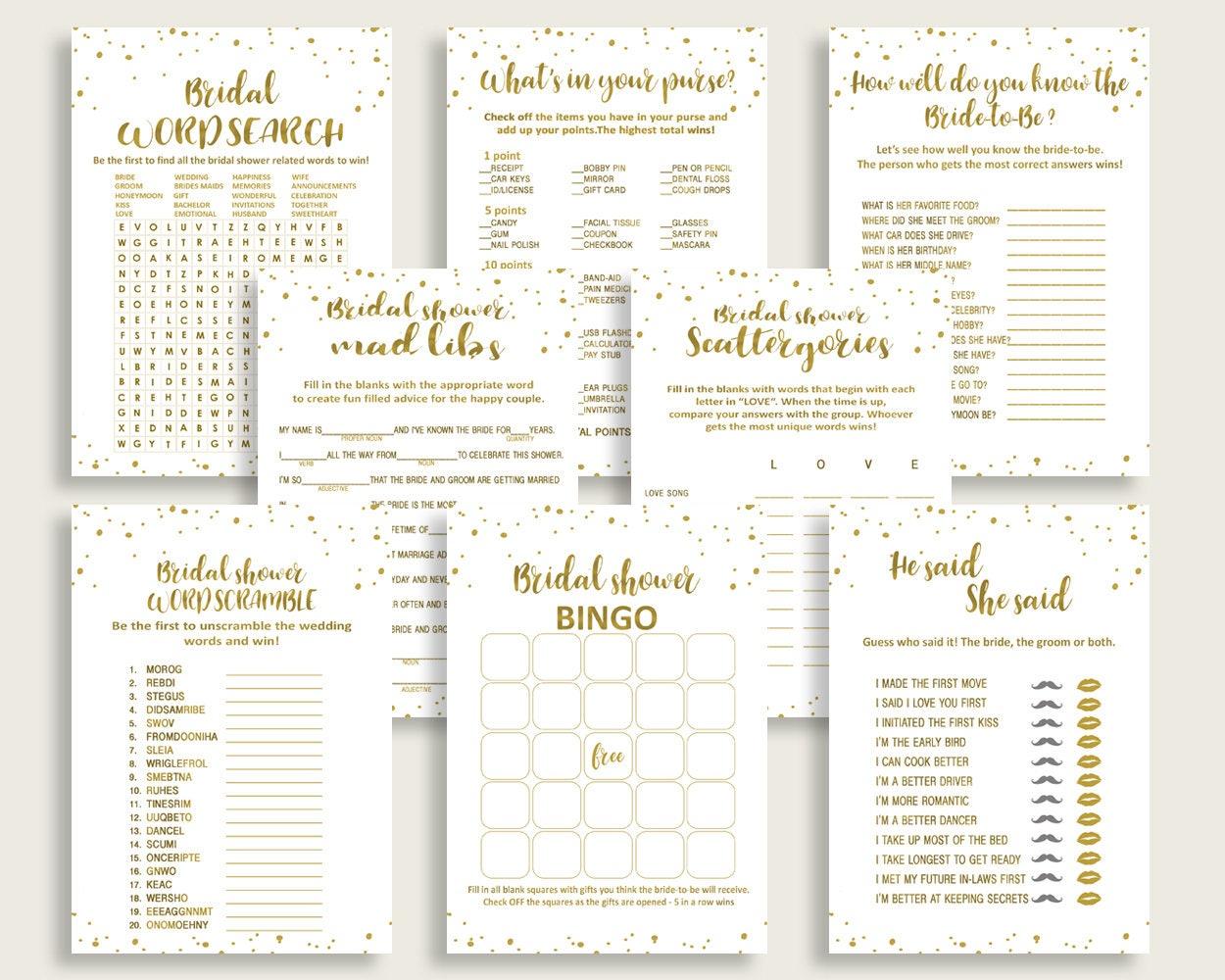 Games Bridal Shower Games Gold Bridal Shower Games Bridal Shower Gold Games  Gold White party ideas pdf jpg shower celebration G2ZNX