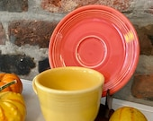 Fiesta Cup and Saucer Vintage Fiesta Ware Fiestaware Yellow and Orange China Spring Decorating Coffee Cup Midcentury Decor