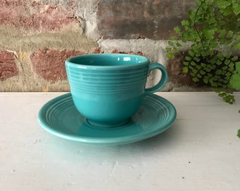 Fiesta Cup and Saucer. Turquoise Fiestaware. Coffee Cup and Saucer.