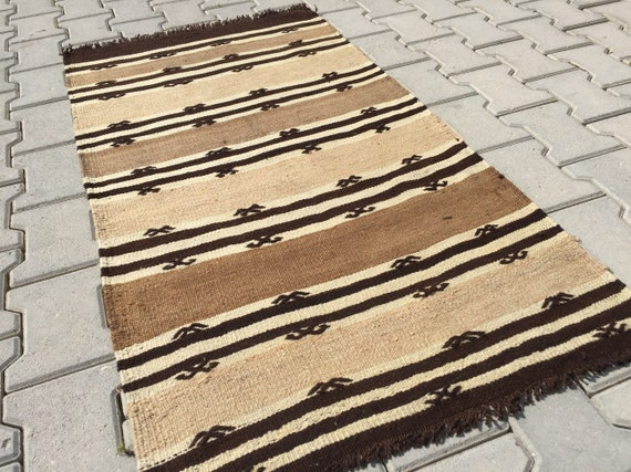 Handwoven kilim rug, Made of ORGANIC cream wool rug, Natural brown rug,  Dark brown striped kitchen rug, Vintage area rug, 2\'4\