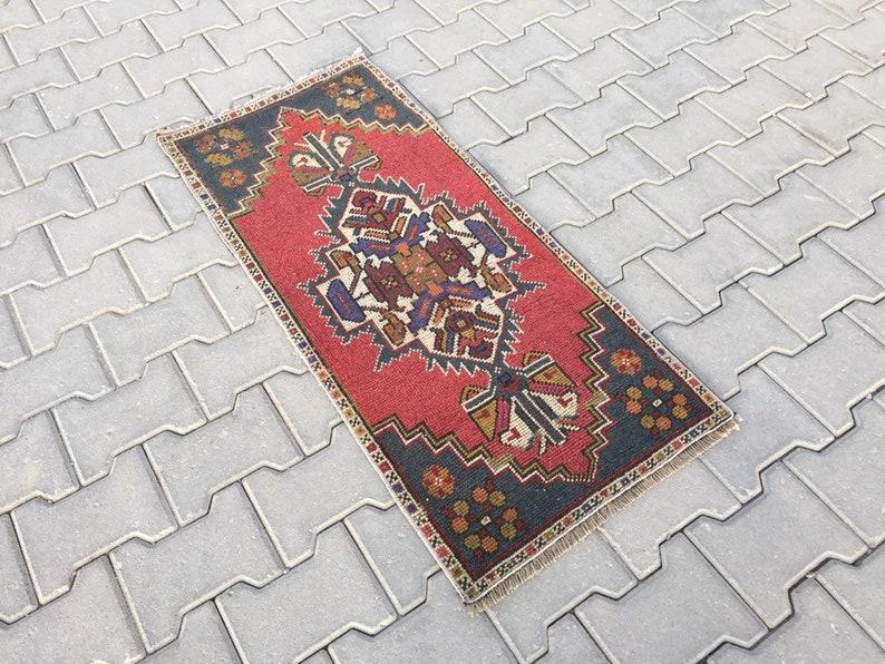 Small Runner 1/'7 X 3/'8 ft Runner Narrow Small Rug Muted Red /& Navy Blue Vintage Rug Bath Rug Carpet Rug Turkish Rug Door Mat
