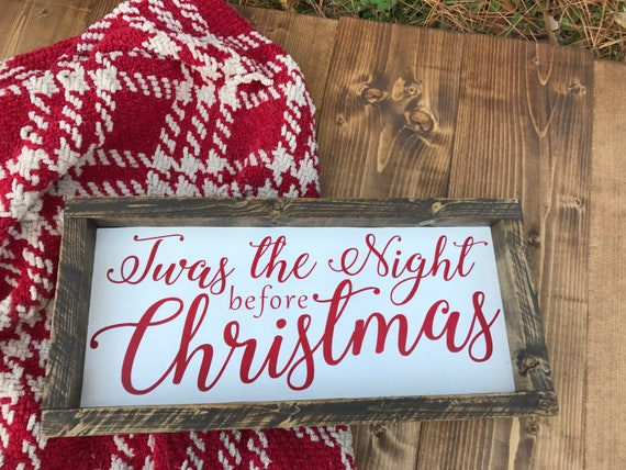 Christmas Wood Signs.Twas The Night Before Christmas Wood Signs With Frame Wood Sign Rustic Christmas Sign Home Decor Mantle Decor Holiday