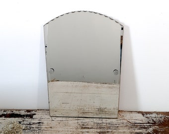French Vintage Bevel Wall Mirror Frameless, Art Deco Bevelled French Shabby Mirror, Bevel Edge Mirror, Ready To Hang