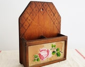 French Vintage Wooden Wall Mount Organizer Country Storage Box Wooden Wall Pocket