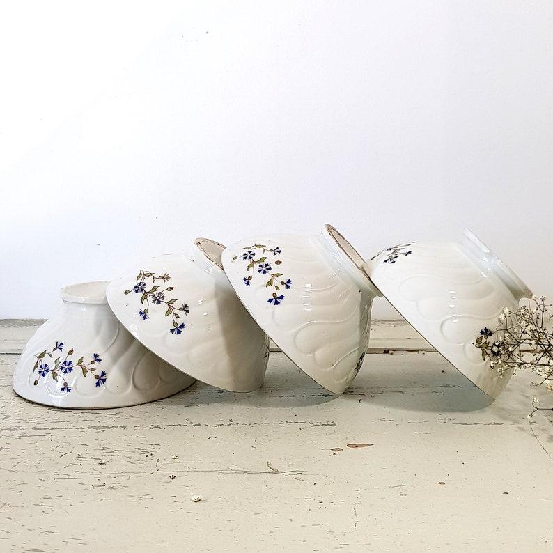 Ensemble de 4 grands bols de café en porcelaine blanche, Café au Lait Bowls Français vintage Breakfast Bowls, Français Country Farmhouse Decor, Bowls Set