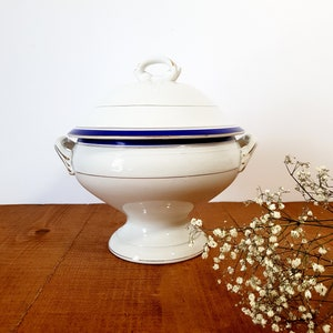 Large Antique Blue Transferware Ironstone Tureen Moulin des Loups French Pedestal Tureen with Lid