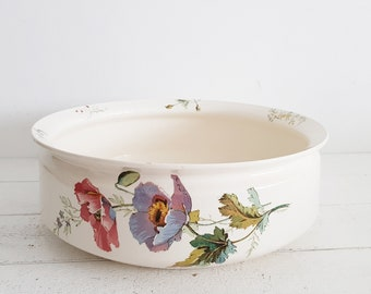 Wash Basin Antique Villeroy and Boch, Poppies, Shabby Chic Bathroom Decor,Wash Basin Table Large Ceramic Bowl,French Country Decor,Numeroted