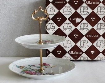 Cake stand vintage. Cake stand wedding. Limoges. Two tier cake stand. Vintage French. Afternoon Tea. Anniversary gift. 1960s, C263