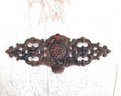 Large French Cast Iron Pediment Furniture Hardware Ornaments Decoration Architectural Salvage