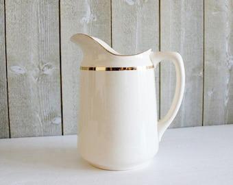 Vintage water pitcher. Sarreguemines. Large vintage jug. Art deco pitcher. Antique French pitcher. Antique French jug. Antique vase , E312