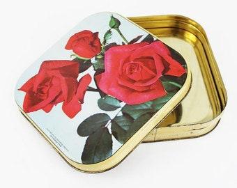 Tin Roses, Floral Tin Box Vintage, Tin Storage Box, Tin Box Metal, French Tin, Box with Lid, Flowers Tin Box, Tin Vintage, Tin Storage,