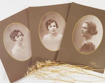 Set of 3 Large French Woman Photograph, Woman Portrait Cabinet Card PARIS Victorian Decor Curiosity Photograph, Woman Photo Black and White