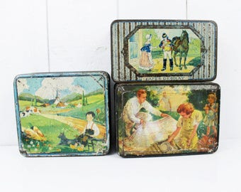 Old Box Storage, Storage Containers, French Tin Box, Antique Tin, French box, Antique Candy Box, Tin Collectibles, Bergamot, Pastille box
