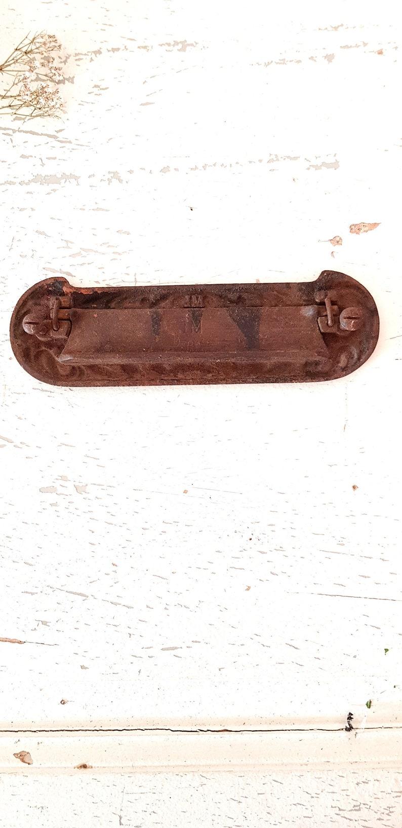 French Art Nouveau Cast Iron Mailbox Antique Door Letter Slot Architectural Salvage
