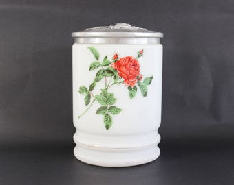 French Milk Glass Jar With Silver Lid, White Milk Glass Jar Vintage, Floral  Milk