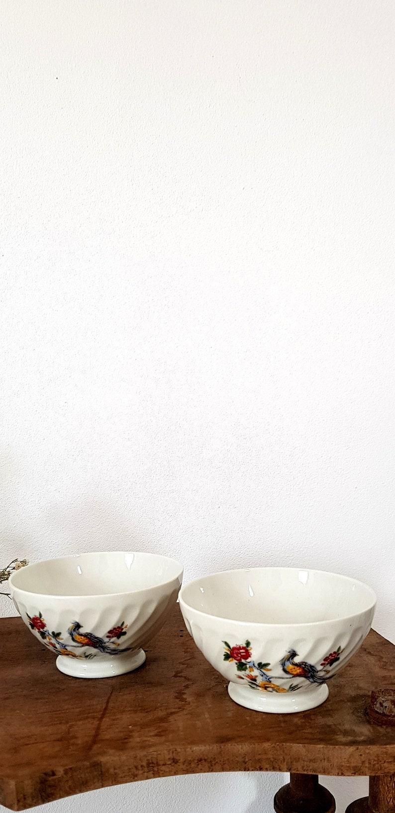 Set of 2 Small French Vintage White Porcelain Bowls Sarreguemines Birds