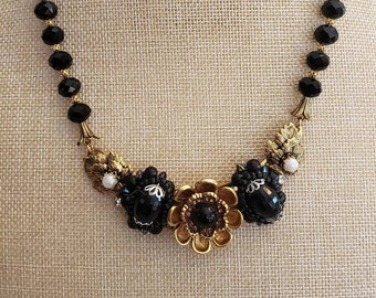 Black and Gold Statement Necklace, Repurposed vintage earrings, Floral Accent, Black Faceted Beads, Gold filigree bead, Beautiful, Elegant