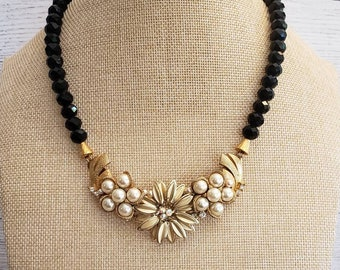 Black and Gold Statement Necklace, Vintage Earrings, Upcycled, Faceted Beads, Pearl's, Bridal, Gift, Repurposed, Elegant, Beautiful