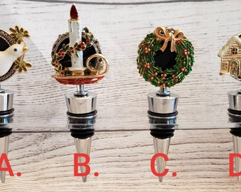 Christmas Holiday Wine Bottle Stopper, Vintage Uocycle, Gift, Hostess Gift, Bridal Wedding Gift, Unique