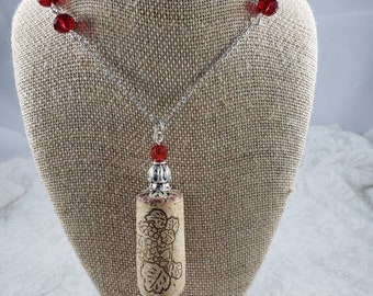 Upcycled Wine Cork Necklace, Corkscrew Charm, Red Crystal Rondelle, Wine lover, Girls Weekend, Bridesmaids Gift