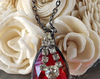 Vintage crystal pendant necklace, upcycled, rhinestone bling, gunmetal, one of a kind