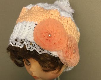 Unique, hand-crafted, crocheted, OOAK Orange Blossom beanie doll hat for blythe, BJD, American Girl, Teddy Bears