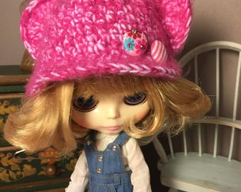 Unique, hand-crafted, hand crocheted, ooak, Pretty in Pink Bear Beanie doll hat.