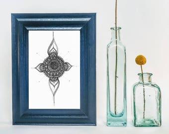 Teardrop Mandala / Prints / Hand Made / Wall Art / Pen Drawings / Ink Drawings