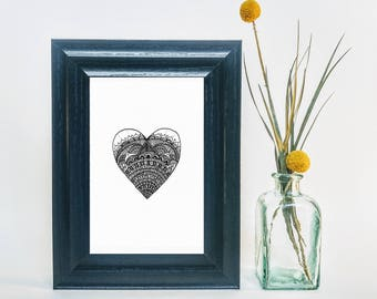 Love Heart / Mandala / Prints / Hand Made / Wall Art / Pen Drawings / Ink Drawings / Romance / Together / Girlfriend / In Love / You And Me